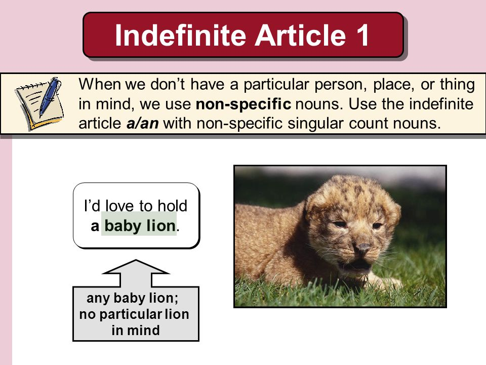 Indefinite Article 2 A noun is often indefinite the first time a speaker mentions it.