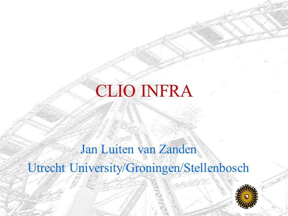 CLIO INFRA Jan Luiten van Zanden Utrecht University/Groningen/Stellenbosch
