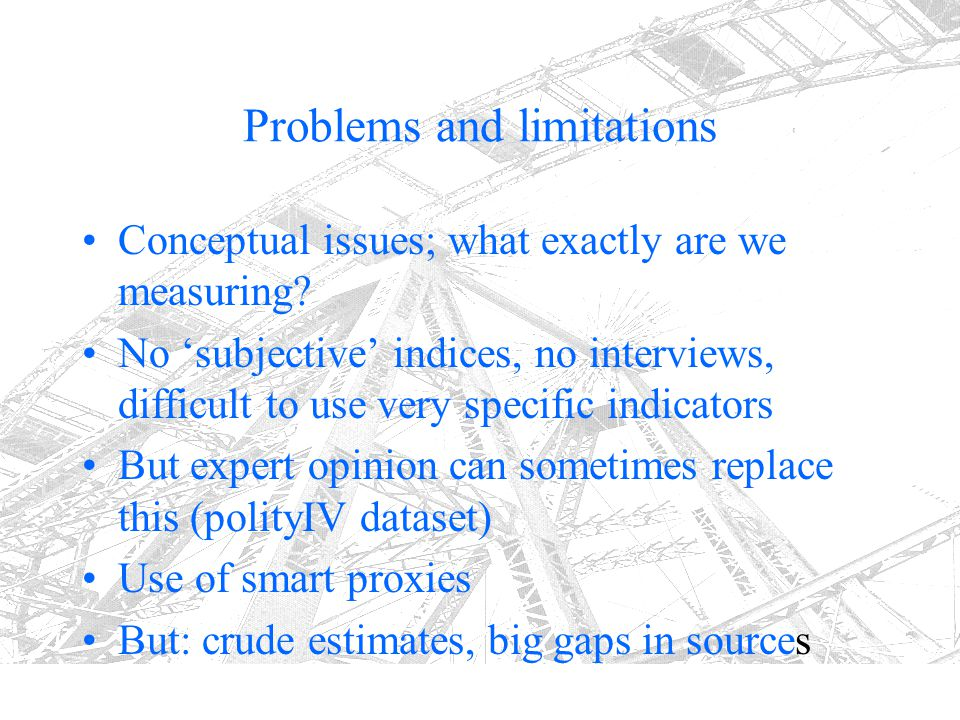 Problems and limitations Conceptual issues; what exactly are we measuring? No 'subjective' indices, no interviews, difficult to use very specific indi