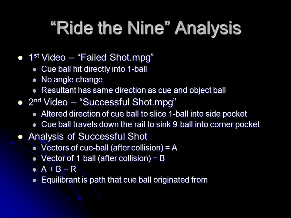 Ride the Nine Analysis 1 st Video – Failed Shot.mpg 1 st Video – Failed Shot.mpg Cue ball hit directly into 1-ball Cue ball hit directly into 1-ball No angle change No angle change Resultant has same direction as cue and object ball Resultant has same direction as cue and object ball 2 nd Video – Successful Shot.mpg 2 nd Video – Successful Shot.mpg Altered direction of cue ball to slice 1-ball into side pocket Altered direction of cue ball to slice 1-ball into side pocket Cue ball travels down the rail to sink 9-ball into corner pocket Cue ball travels down the rail to sink 9-ball into corner pocket Analysis of Successful Shot Analysis of Successful Shot Vectors of cue-ball (after collision) = A Vectors of cue-ball (after collision) = A Vector of 1-ball (after collision) = B Vector of 1-ball (after collision) = B A + B = R A + B = R Equilibrant is path that cue ball originated from Equilibrant is path that cue ball originated from