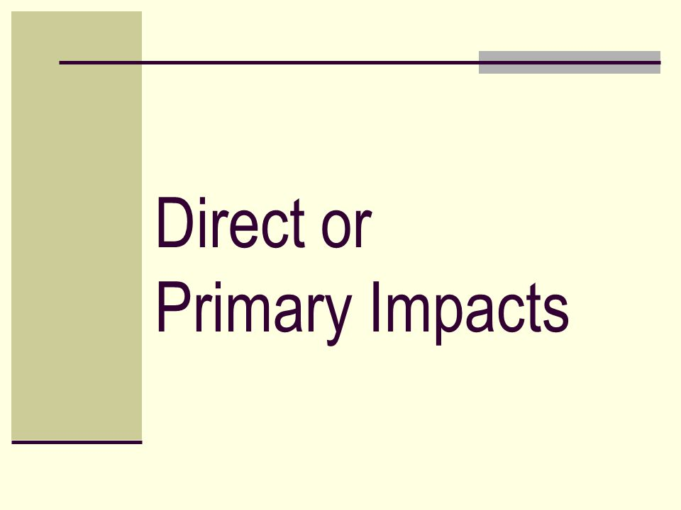 Direct or Primary Impacts