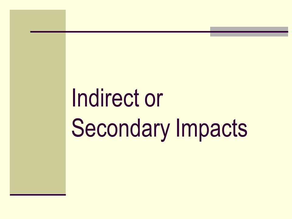 Indirect or Secondary Impacts