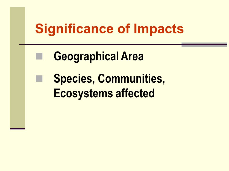 Geographical Area Species, Communities, Ecosystems affected