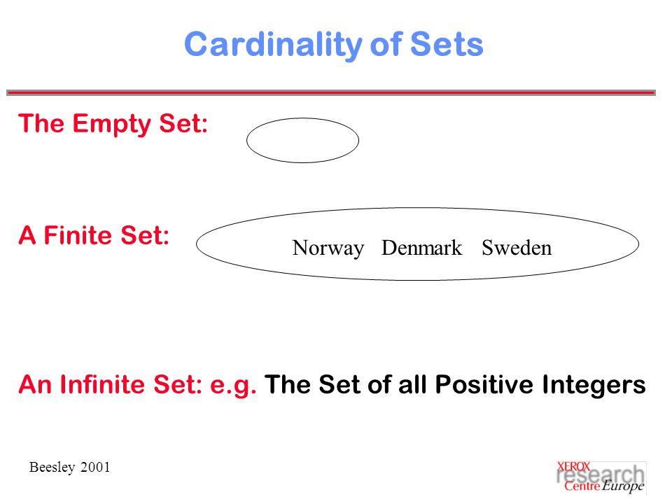 Beesley 2001 Cardinality of Sets The Empty Set: A Finite Set: An Infinite Set: e.g.