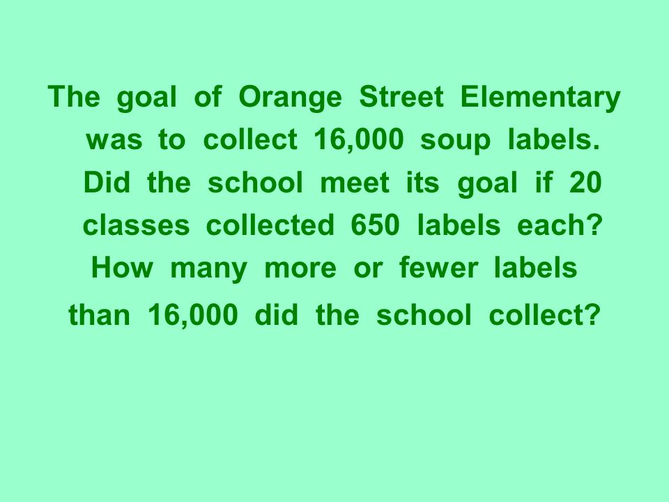 The goal of Orange Street Elementary was to collect 16,000 soup labels. Did the school meet its goal if 20 classes collected 650 labels each? How many
