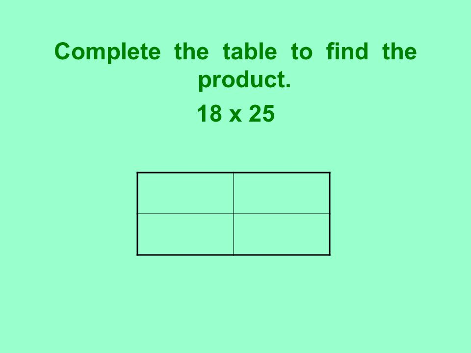 Complete the table to find the product. 18 x 25