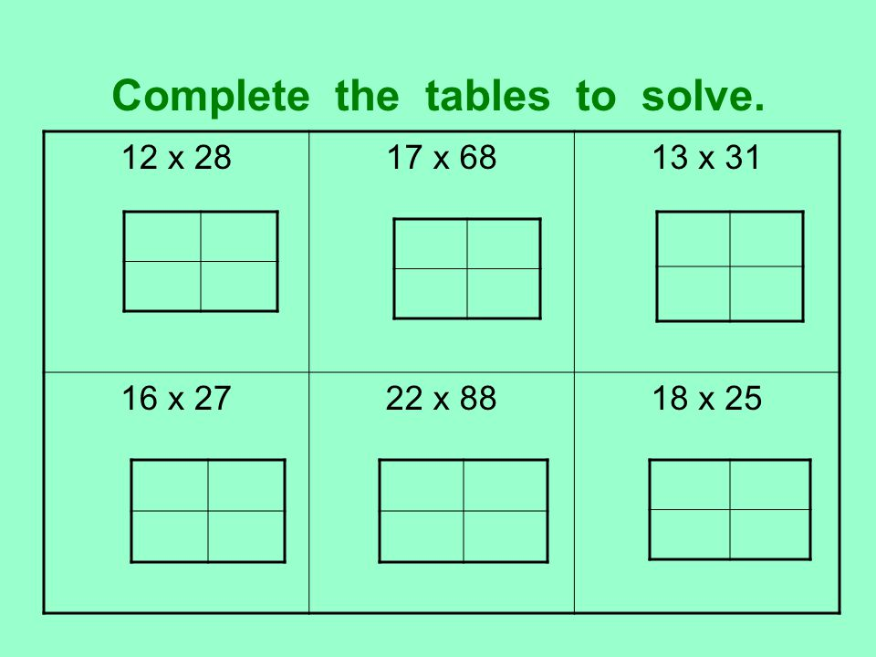 Complete the tables to solve. 12 x 2817 x 6813 x 31 16 x 2722 x 8818 x 25