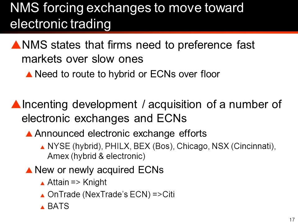 17 NMS forcing exchanges to move toward electronic trading  NMS states that firms need to preference fast markets over slow ones  Need to route to hybrid or ECNs over floor  Incenting development / acquisition of a number of electronic exchanges and ECNs  Announced electronic exchange efforts  NYSE (hybrid), PHILX, BEX (Bos), Chicago, NSX (Cincinnati), Amex (hybrid & electronic)  New or newly acquired ECNs  Attain => Knight  OnTrade (NexTrade's ECN) =>Citi  BATS