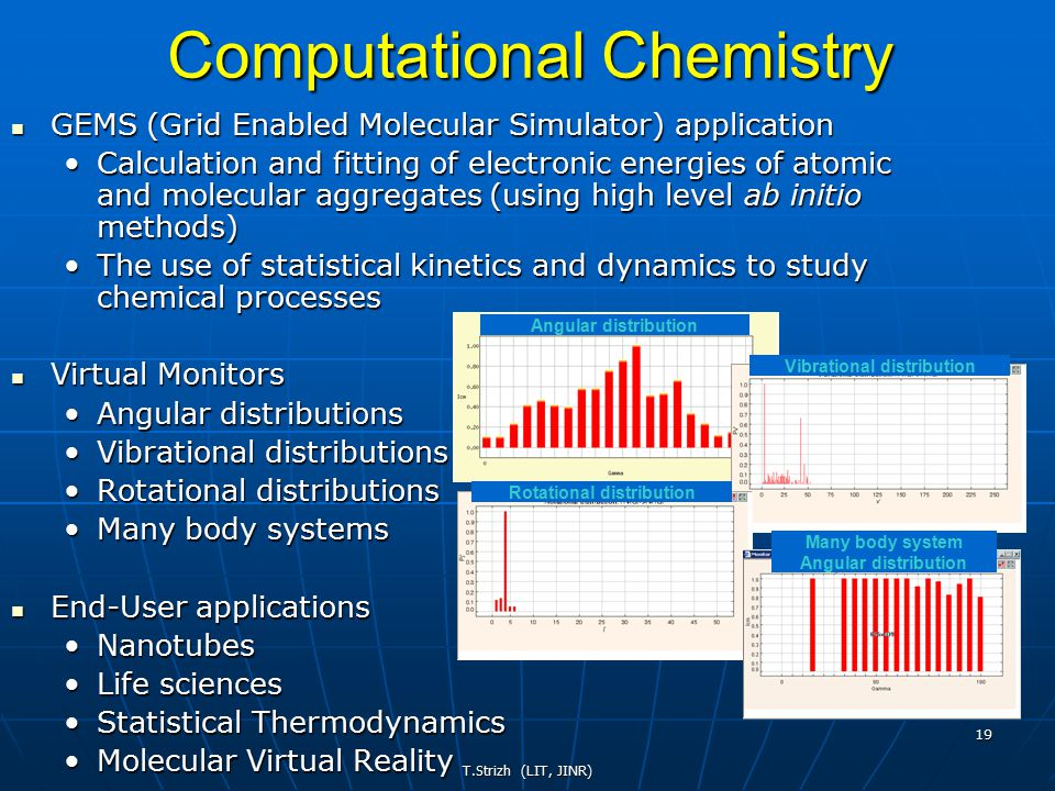 T.Strizh (LIT, JINR) 19 Computational Chemistry GEMS (Grid Enabled Molecular Simulator) application GEMS (Grid Enabled Molecular Simulator) application Calculation and fitting of electronic energies of atomic and molecular aggregates (using high level ab initio methods)Calculation and fitting of electronic energies of atomic and molecular aggregates (using high level ab initio methods) The use of statistical kinetics and dynamics to study chemical processesThe use of statistical kinetics and dynamics to study chemical processes Virtual Monitors Virtual Monitors Angular distributionsAngular distributions Vibrational distributionsVibrational distributions Rotational distributionsRotational distributions Many body systemsMany body systems End-User applications End-User applications NanotubesNanotubes Life sciencesLife sciences Statistical ThermodynamicsStatistical Thermodynamics Molecular Virtual RealityMolecular Virtual Reality Angular distribution Rotational distribution Vibrational distribution Many body system Angular distribution