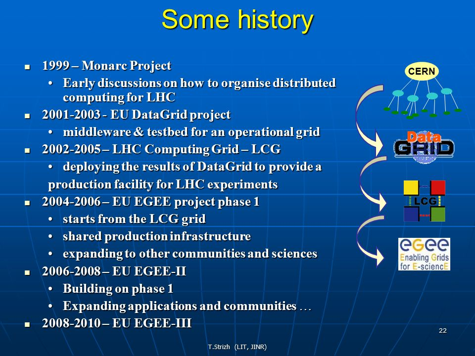 T.Strizh (LIT, JINR) 22 Some history 1999 – Monarc Project 1999 – Monarc Project Early discussions on how to organise distributed computing for LHCEarly discussions on how to organise distributed computing for LHC 2001-2003 - EU DataGrid project 2001-2003 - EU DataGrid project middleware & testbed for an operational gridmiddleware & testbed for an operational grid 2002-2005 – LHC Computing Grid – LCG 2002-2005 – LHC Computing Grid – LCG deploying the results of DataGrid to provide adeploying the results of DataGrid to provide a production facility for LHC experiments 2004-2006 – EU EGEE project phase 1 2004-2006 – EU EGEE project phase 1 starts from the LCG gridstarts from the LCG grid shared production infrastructureshared production infrastructure expanding to other communities and sciencesexpanding to other communities and sciences 2006-2008 – EU EGEE-II 2006-2008 – EU EGEE-II Building on phase 1Building on phase 1 Expanding applications and communities …Expanding applications and communities … 2008-2010 – EU EGEE-III 2008-2010 – EU EGEE-III CERN