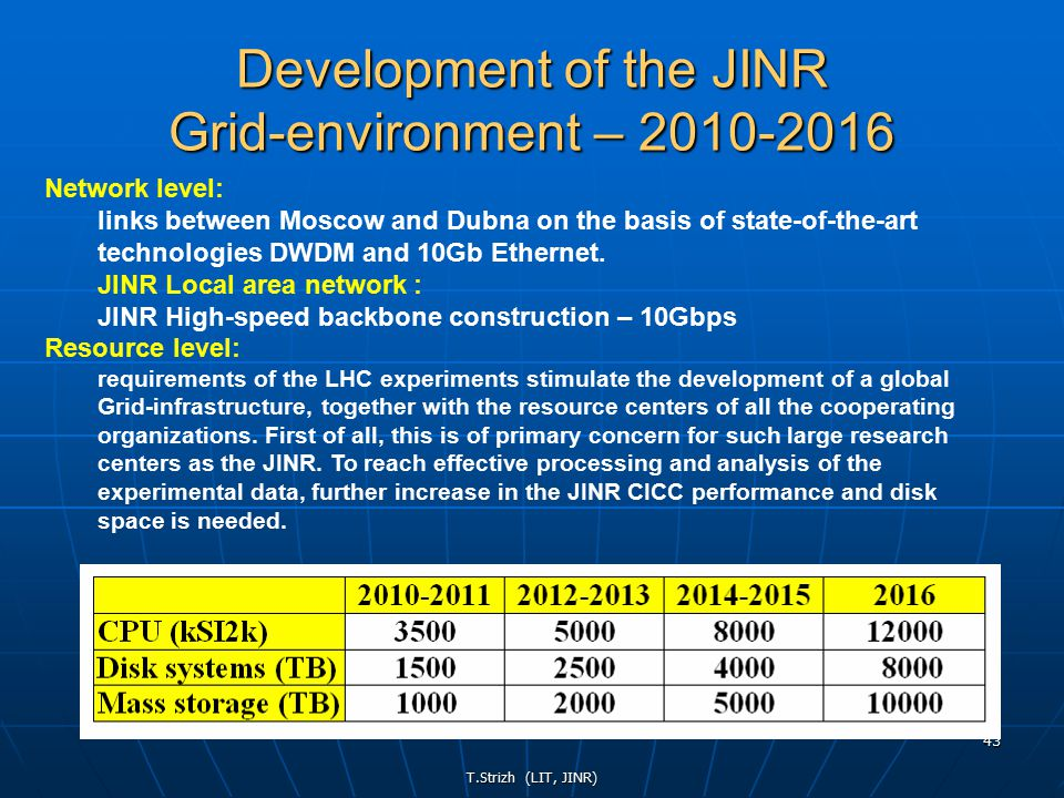 T.Strizh (LIT, JINR) 43 Development of the JINR Grid-environment – 2010-2016 Network level: links between Moscow and Dubna on the basis of state-of-the-art technologies DWDM and 10Gb Ethernet.