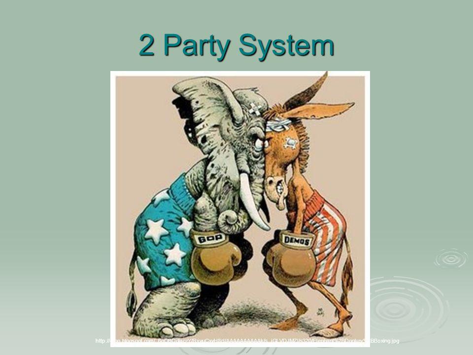 2 Party System http://4.bp.blogspot.com/_6qOBOdiaczY/RxvuCxyH8cI/AAAAAAAAAAk/s_iGLVDJMZI/s320/Elephant%2BDonkey%2BBoxing.jpg