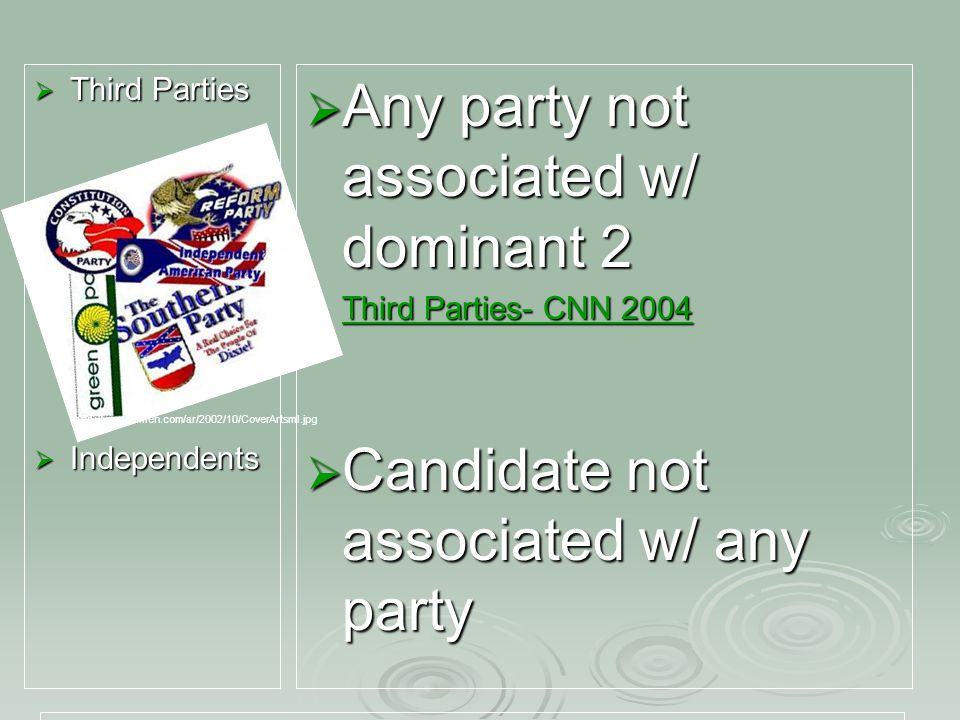  Third Parties  Independents  Any party not associated w/ dominant 2  Third Parties- CNN 2004 Third Parties- CNN 2004 Third Parties- CNN 2004  Candidate not associated w/ any party http://www.amren.com/ar/2002/10/CoverArtsml.jpg
