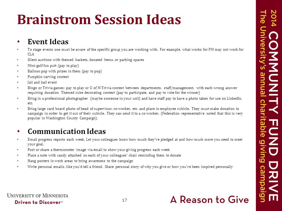 17 Brainstrom Session Ideas Event Ideas To stage events one must be aware of the specific group you are working with.