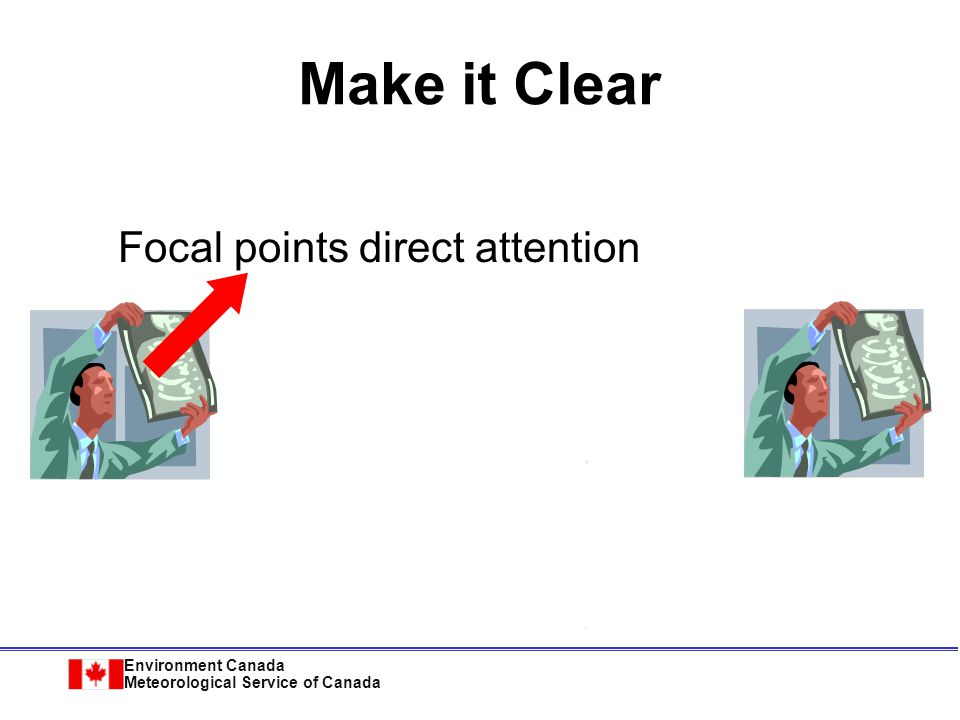 Environment Canada Meteorological Service of Canada Focal points direct attention Make it Clear