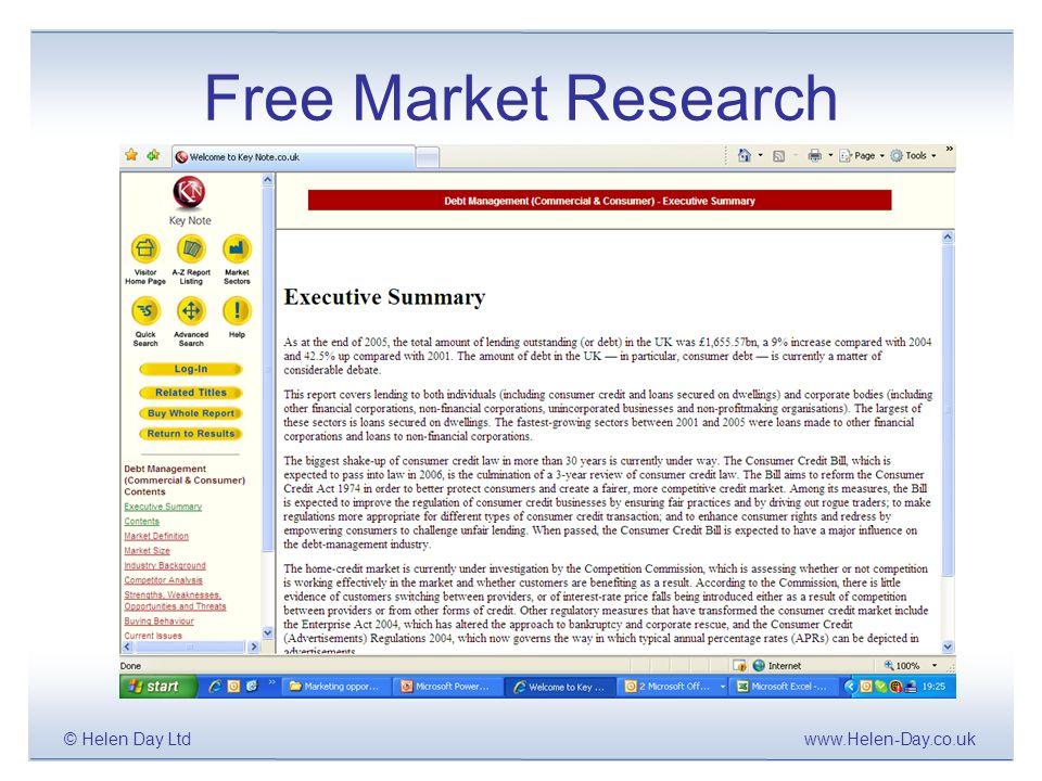 www.Helen-Day.co.uk© Helen Day Ltd Free Market Research