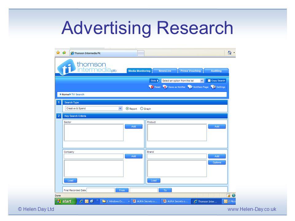 www.Helen-Day.co.uk© Helen Day Ltd Advertising Research