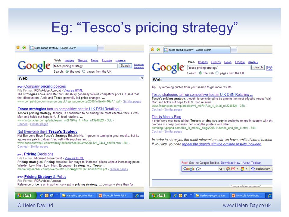 www.Helen-Day.co.uk© Helen Day Ltd Eg: Tesco's pricing strategy