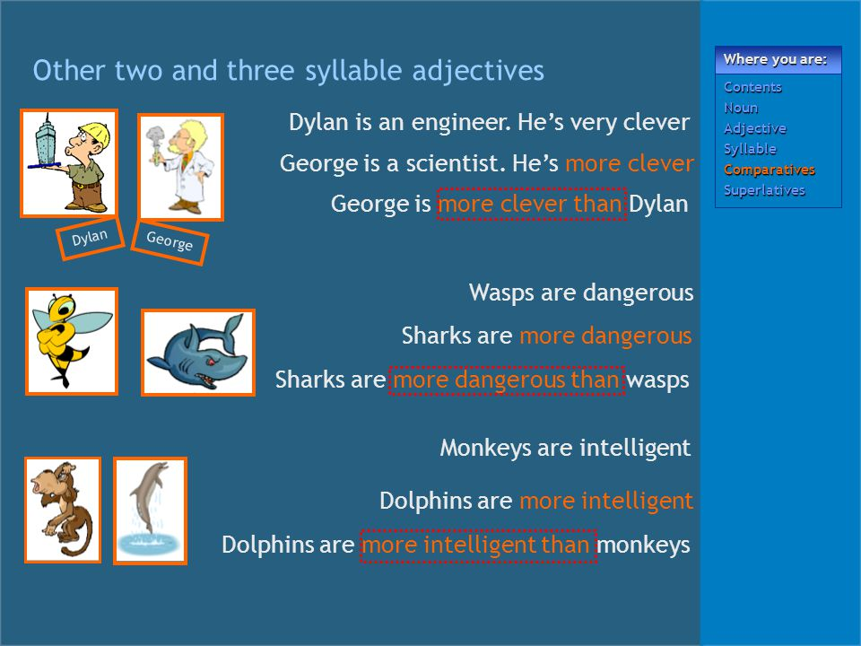 Other two and three syllable adjectives Dylan George Dylan is an engineer.
