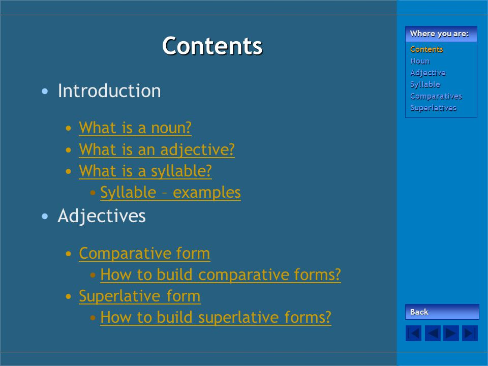 Contents Introduction What is a noun. What is an adjective.