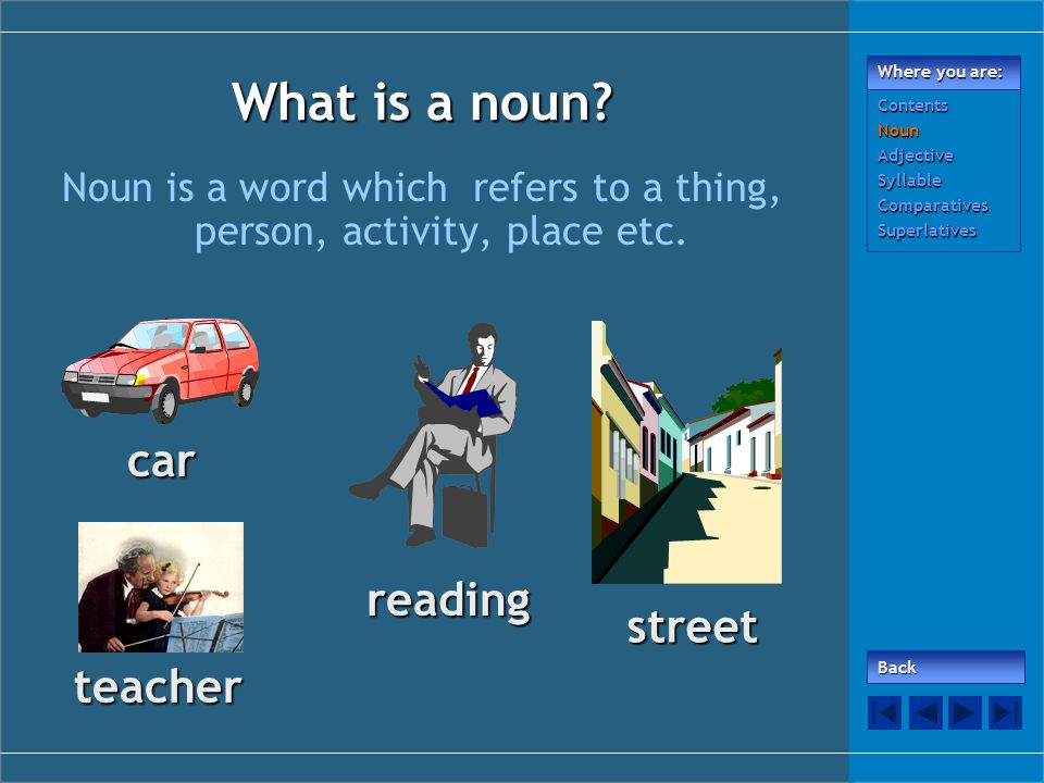 What is a noun? Noun is a word which refers to a thing, person, activity, place etc. car street teacher reading Back Where you are: ContentsNounAdject