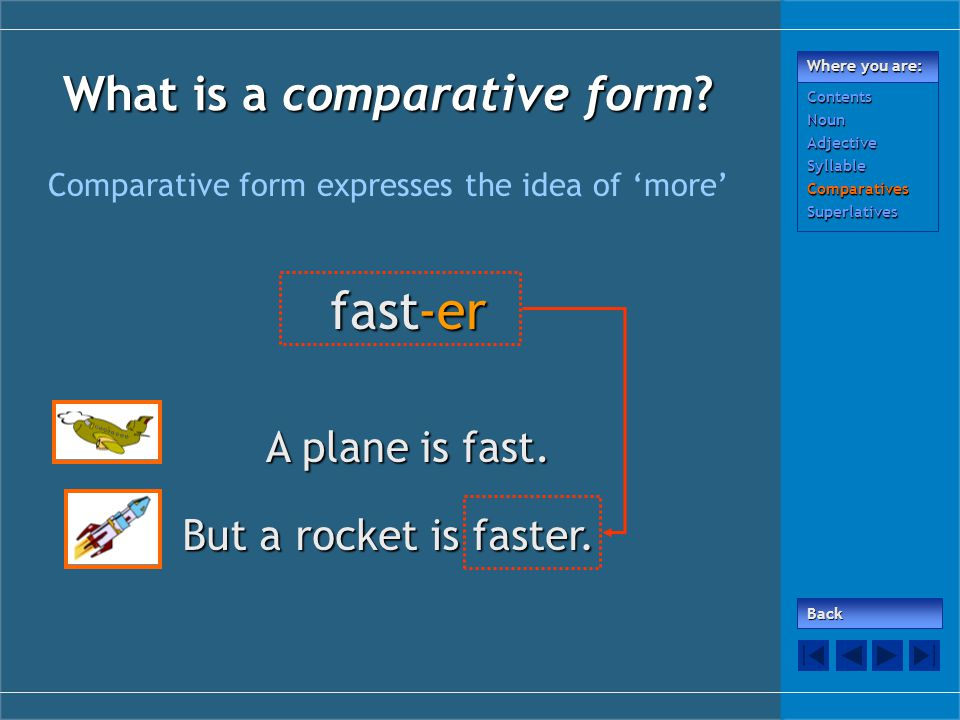 What is a comparative form. Comparative form expresses the idea of 'more' fast-er A plane is fast.