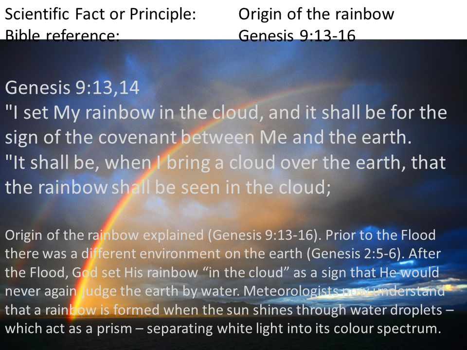 Scientific Fact or Principle:Origin of the rainbow Bible reference:Genesis 9:13-16 Origin of the rainbow explained (Genesis 9:13-16).