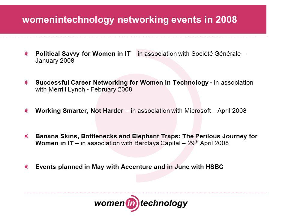 Other networking groups for women in IT BCSWomen –www.bcs.org/bcswomen London Girl Geek Dinners –www.londongirlgeekdinners.co.uk Intellect's Women in IT Forum –www.intellectuk.org