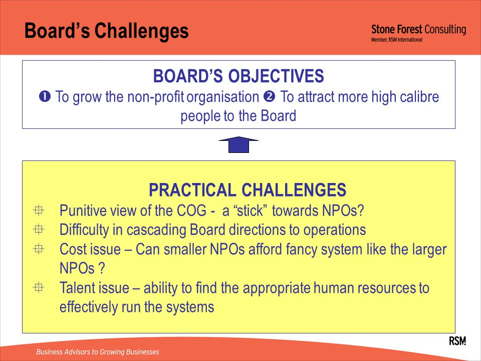 Board's Challenges BOARD'S OBJECTIVES  To grow the non-profit organisation  To attract more high calibre people to the Board PRACTICAL CHALLENGES  Punitive view of the COG - a stick towards NPOs.