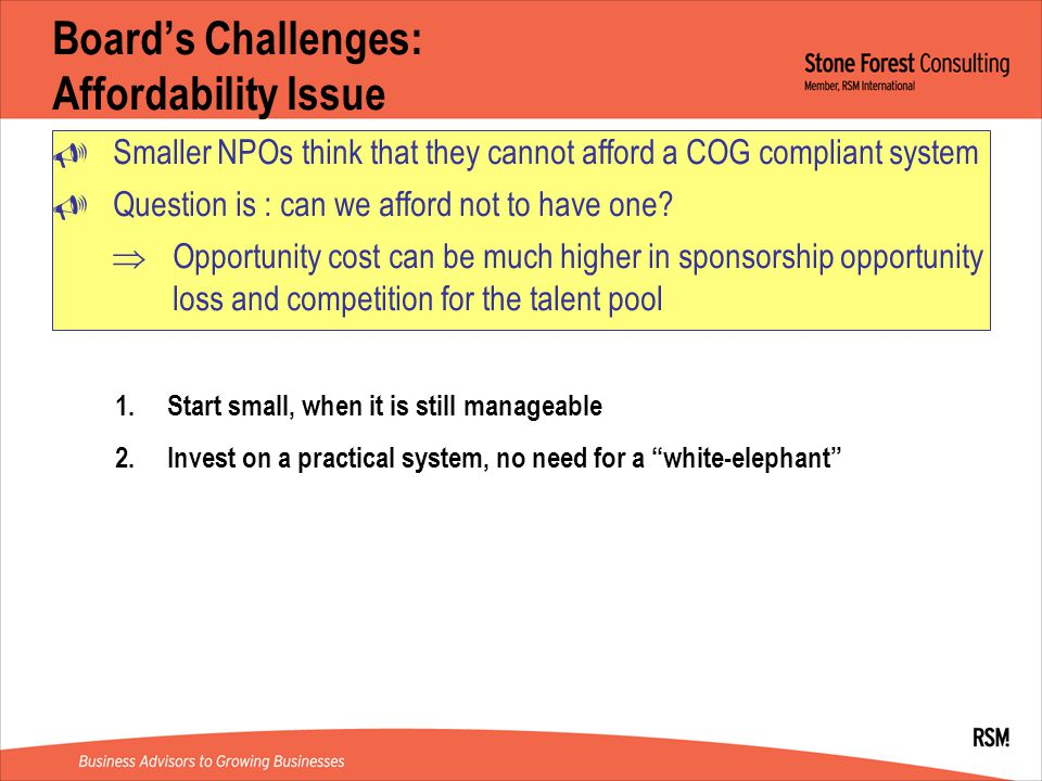 Board's Challenges: Affordability Issue  Smaller NPOs think that they cannot afford a COG compliant system  Question is : can we afford not to have one.