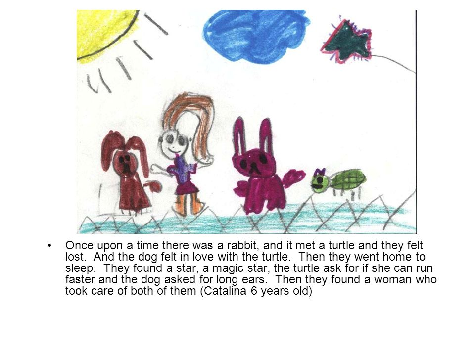 Once upon a time there was a rabbit, and it met a turtle and they felt lost. And the dog felt in love with the turtle. Then they went home to sleep. T