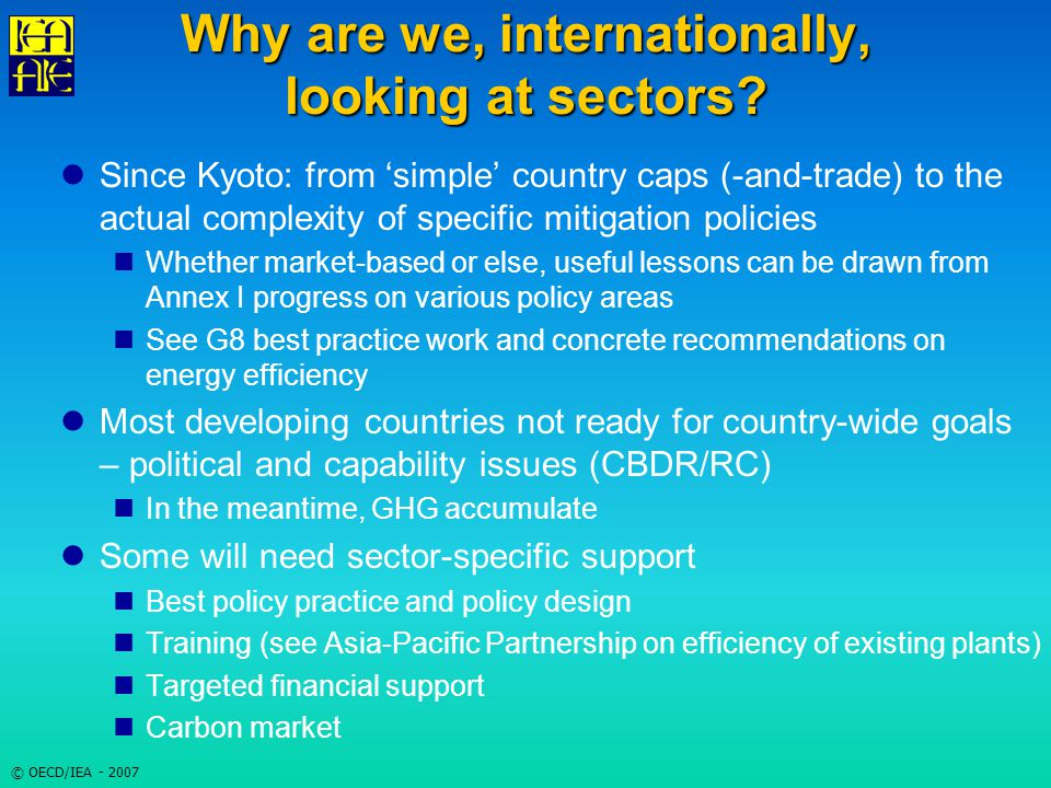 © OECD/IEA - 2007 Why are we, internationally, looking at sectors.