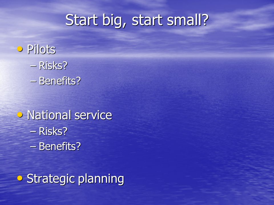 Start big, start small. Pilots Pilots –Risks. –Benefits.