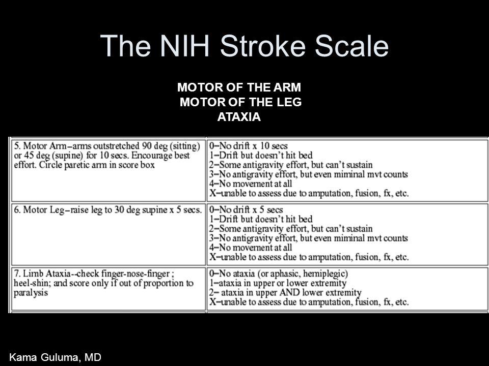 The NIH Stroke Scale MOTOR OF THE ARM MOTOR OF THE LEG ATAXIA Kama Guluma, MD