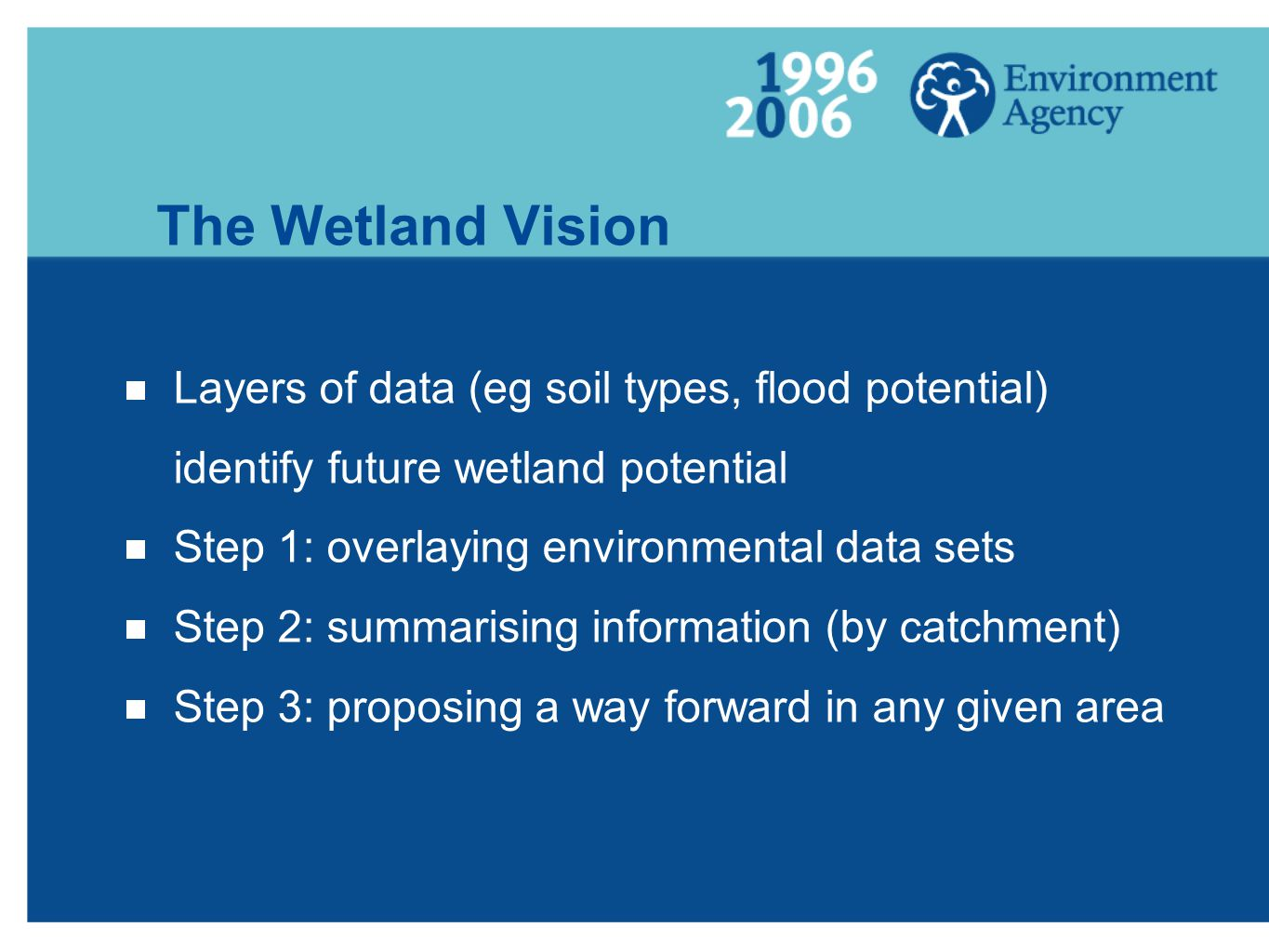 The Wetland Vision  Layers of data (eg soil types, flood potential) identify future wetland potential  Step 1: overlaying environmental data sets  Step 2: summarising information (by catchment)  Step 3: proposing a way forward in any given area