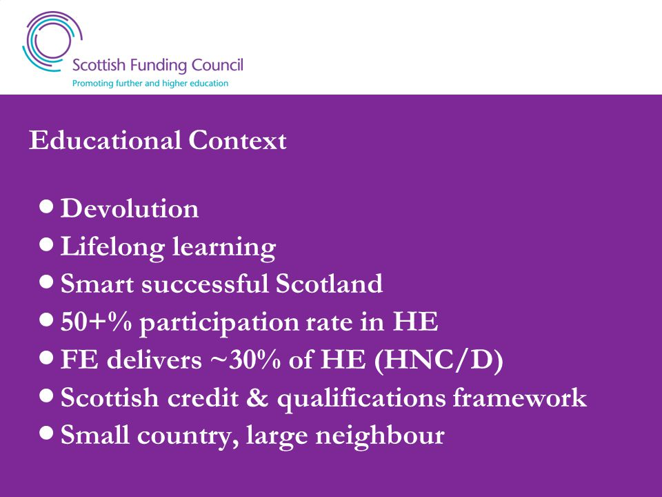 Educational Context Devolution Lifelong learning Smart successful Scotland 50+% participation rate in HE FE delivers ~30% of HE (HNC/D) Scottish credit & qualifications framework Small country, large neighbour