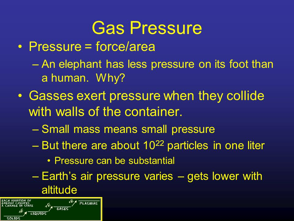 Gas Pressure Pressure = force/area –An elephant has less pressure on its foot than a human.