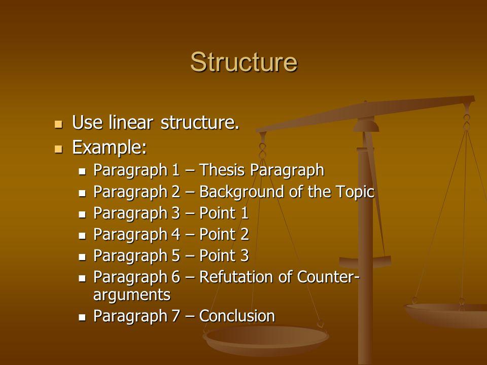 Structure Use linear structure.Use linear structure.