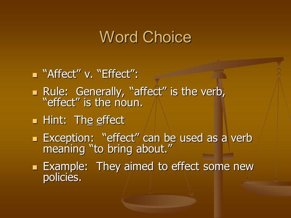 Affect v. Effect : Affect v.