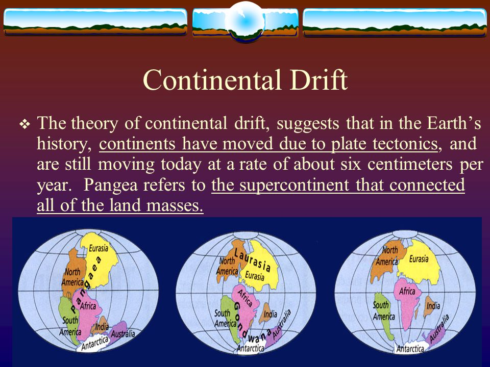 Continental Drift  The theory of continental drift, suggests that in the Earth's history, continents have moved due to plate tectonics, and are still