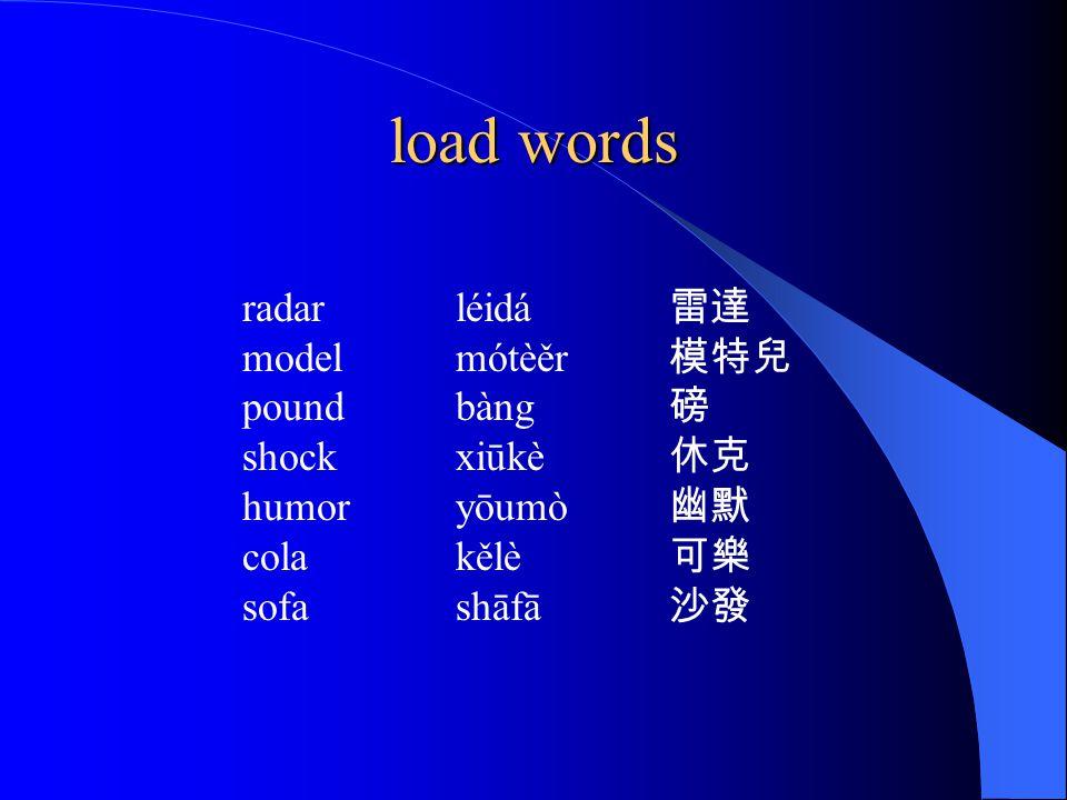load words radar léidá 雷達 model mótèěr 模特兒 pound bàng 磅 shock xiūkè 休克 humor yōumò 幽默 cola kělè 可樂 sofa shāfā 沙發