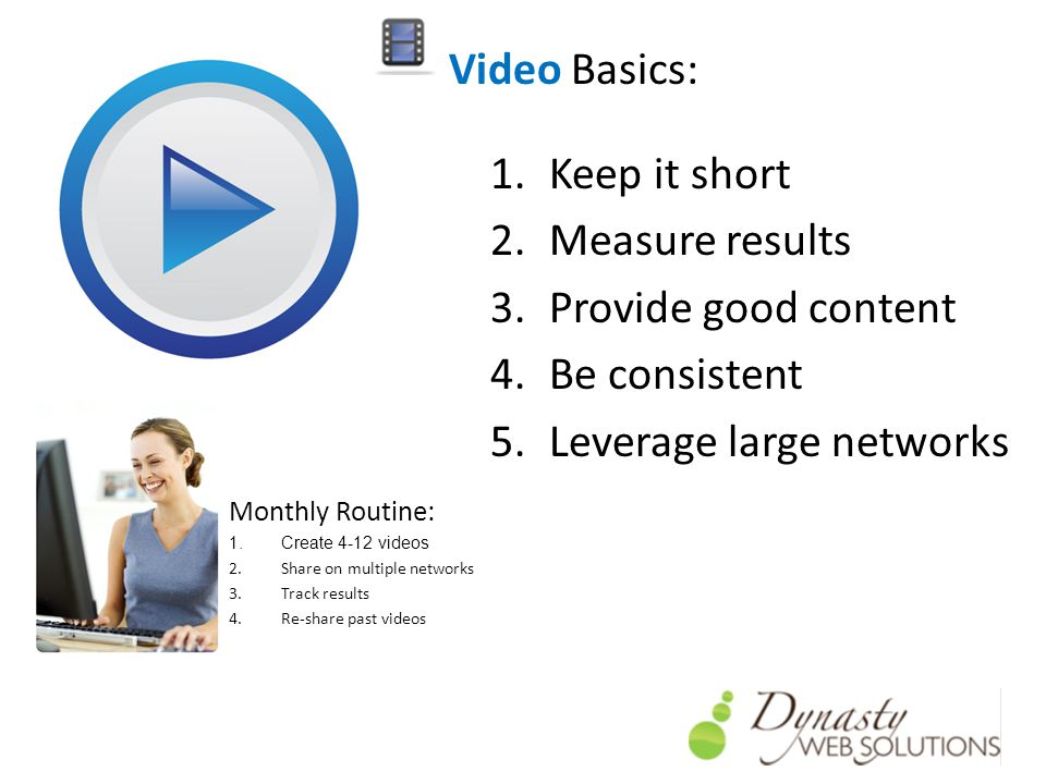 Video Basics: 1.Keep it short 2.Measure results 3.Provide good content 4.Be consistent 5.Leverage large networks Monthly Routine: 1.Create 4-12 videos 2.Share on multiple networks 3.Track results 4.Re-share past videos