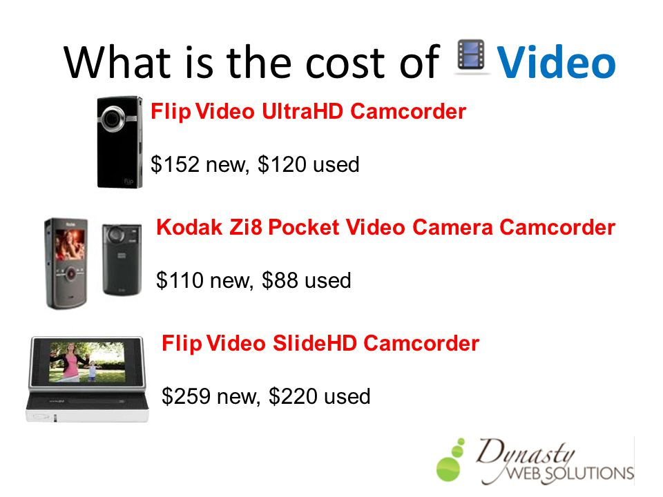 What is the cost of Video Flip Video UltraHD Camcorder $152 new, $120 used Kodak Zi8 Pocket Video Camera Camcorder $110 new, $88 used Flip Video SlideHD Camcorder $259 new, $220 used