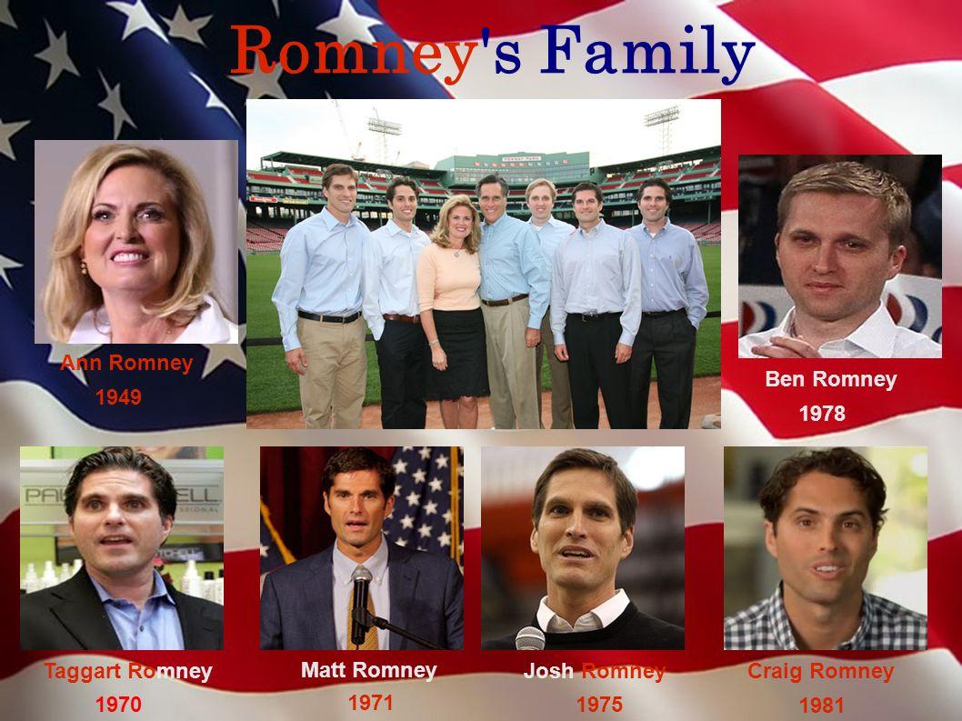 Romney s Family Ann Romney Taggart Romney 1970 Matt Romney 1971 1975 Josh Romney 1978 Ben Romney 1981 Craig Romney 1949