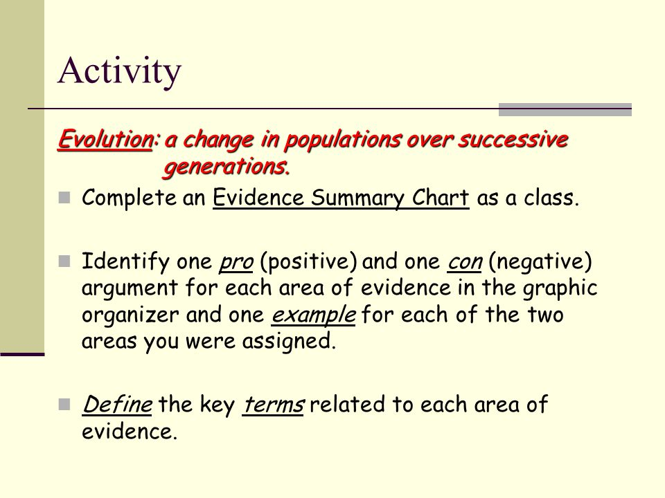 Activity Evolution: a change in populations over successive generations.