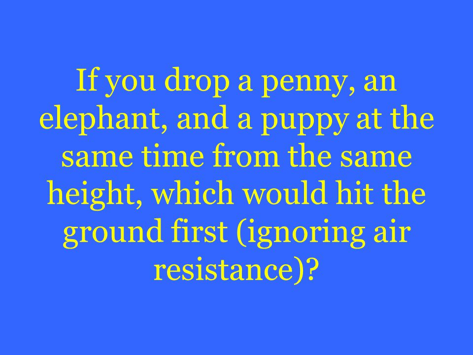 If you drop a penny, an elephant, and a puppy at the same time from the same height, which would hit the ground first (ignoring air resistance)