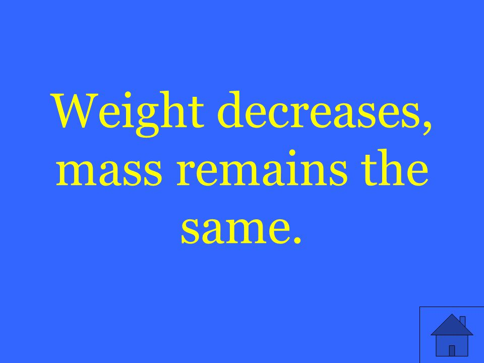 Weight decreases, mass remains the same.