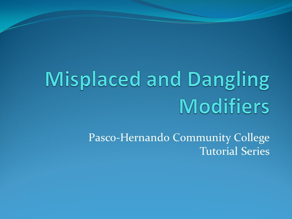 Pasco-Hernando Community College Tutorial Series
