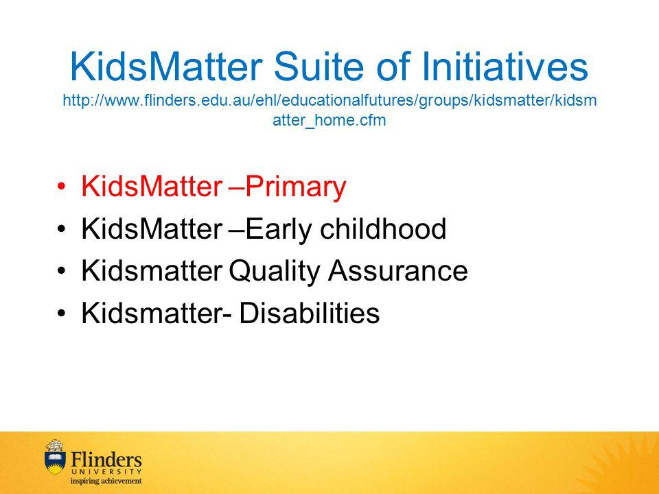 KidsMatter Suite of Initiatives http://www.flinders.edu.au/ehl/educationalfutures/groups/kidsmatter/kidsm atter_home.cfm KidsMatter –Primary KidsMatter –Early childhood Kidsmatter Quality Assurance Kidsmatter- Disabilities