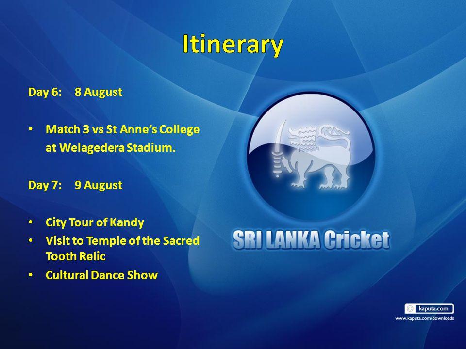 Day 6:8 August Match 3 vs St Anne's College at Welagedera Stadium.